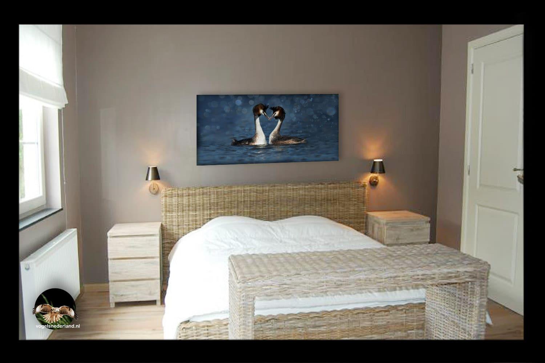 Wanddecoratie Romantisch fuutpaar op slaapkamer
